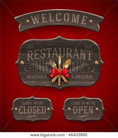 Set of vintage wooden  Restaurant signs with decor and golden cutlery - vector illustration