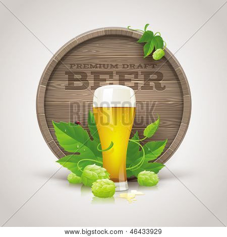 Still life with wooden cask, beer glass and ripe hops and leaves - vector illustration