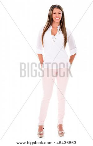 Fullbody casual woman smiling - isolated over a white background