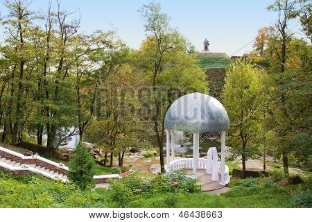 Beautiful White Wedding Gazebo In Park