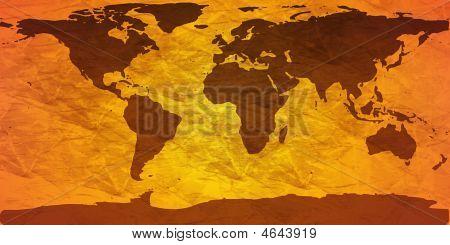 Crumpled World Map