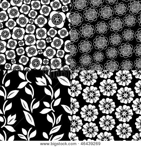 Floral seamless patterns set in black and white, vector