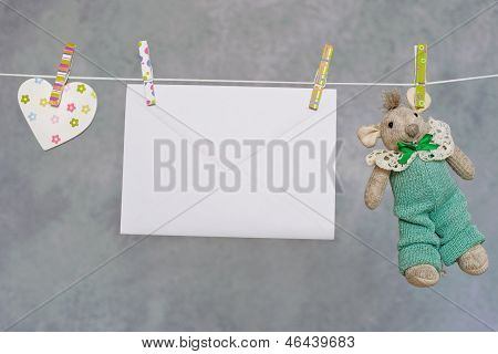 Baby on the clothesline