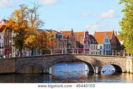 Classic view of channels of Bruges