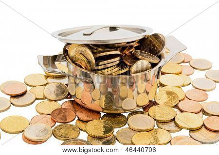 a cooking pot is filled with euro coins, symbolic photo for funding