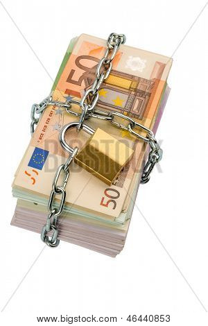 euro banknotes with chain and padlock. photo icon for security and inflation.