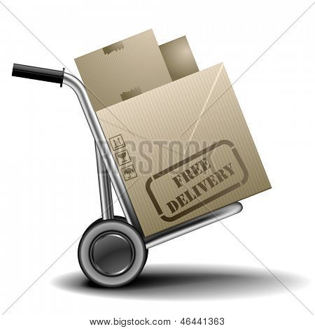 detailed illustration of a handtruck or trolley with cardboxes with free delivery label on them, eps 10 vector