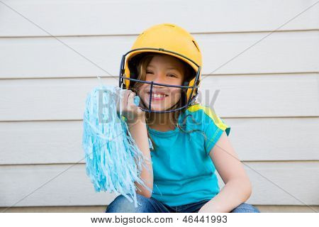 baseball cheerleading pom poms girl happy smiling with yellow helmet