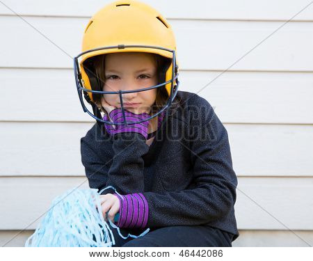 children cheerleading pom poms girl sad relaxed yellow baseball helmet