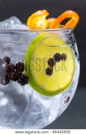 Gin tonic cocktail macro closeup with juniper berries orange and lime slice
