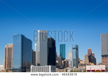 Houston Texas downtown skyscrappers skyline on blue sky day