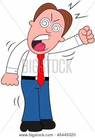 Cartoon Businessman Yelling.