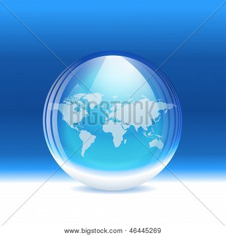 Vector transparent snow globe with map