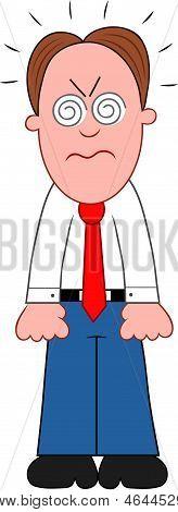 Cartoon Businessman Furious.