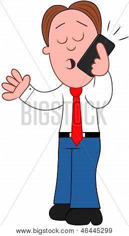 Cartoon Businessman Talking On Phone.