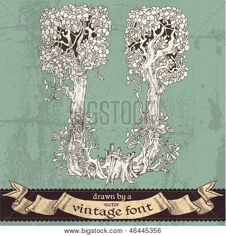 Magic Grunge Forest Hand Drawn By A Vintage Font - U