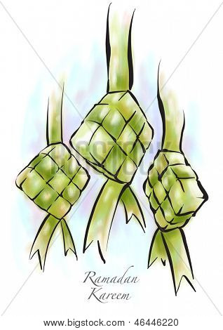 Muslim Ketupat Drawing. Translation: Ramadan Kareen - May Generosity Bless You During The Holy Month