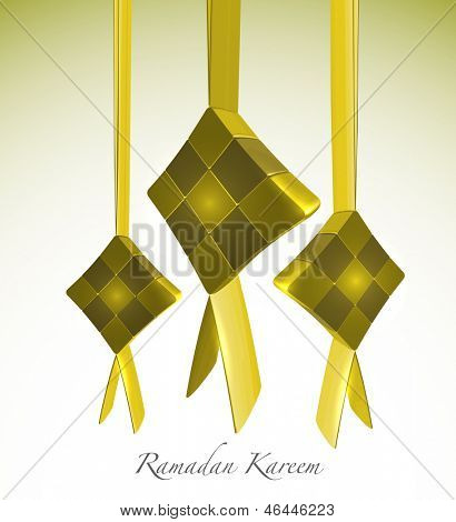 3D Muslim Ketupat. Translation: Ramadan Kareen - May Generosity Bless You During The Holy Month