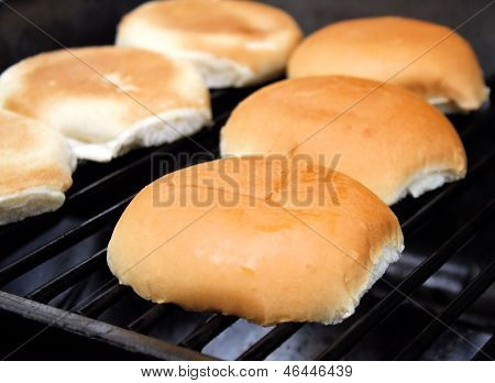 Buns Toasting On The Grill