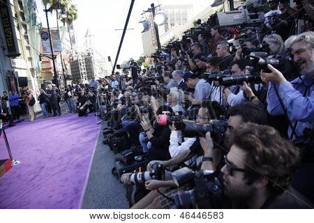 LOS ANGELES - JAN 26: Media at the hand and footprint ceremony honoring musician Michael Jackson at Grauman's Chinese Theater on January 26, 2012 in Los Angeles, California