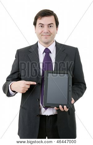businessman showing a tablet pc, isolated