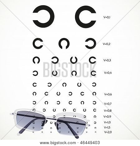 Table For Eye Tests With Glasses On White Background