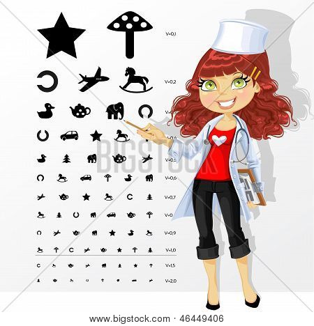 Woman Doctor - Ophthalmologist Shows Children's Table For Eye Tests