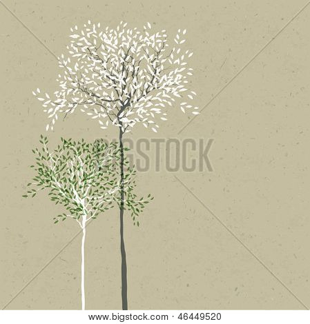 Trees background. The trunk and leaves in separate layers. Vector.