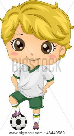 Illustration of Little Kid Soccer Boy with one Foot on Soccer Ball