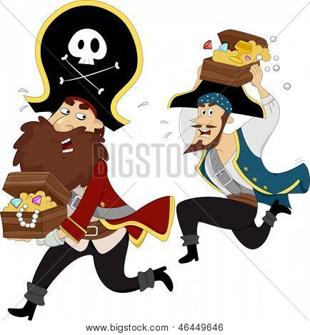 Illustration of Male Pirates Chasing each other while carrying Treasure Chest