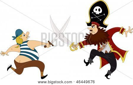 Illustration of Male Pirates having a Swordfight