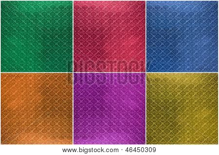 Collage Of Tiled Glass Texture, Background (green, Blue, Red, Orange, Pink, Yellow)