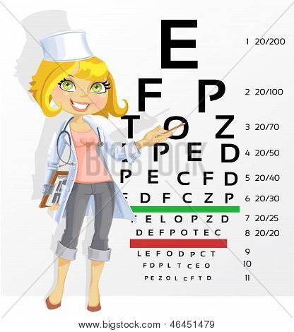 Cute Woman Doctor - Optometrist Points To The Table For Testing Visual Acuity