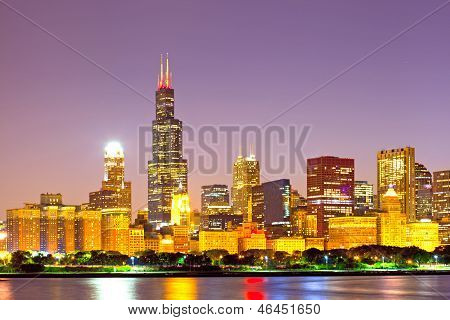 City of Chicago USA sunset colorful panorama skyline of downtown