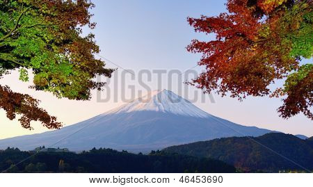 Panorama of Mt. Fuji with fall colors.