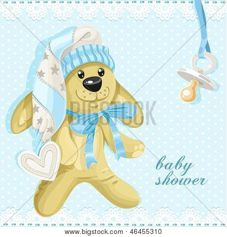 Baby Shower Card With Blue Soft Rabbit And Baby's Dummy