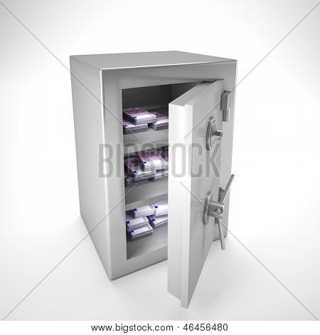 3d image of classic steel safe and money inside