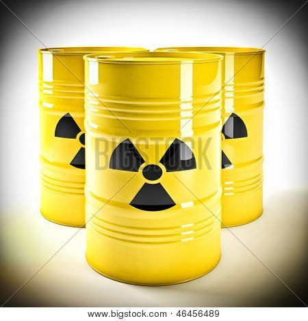 3d image of yellow radioactive barell