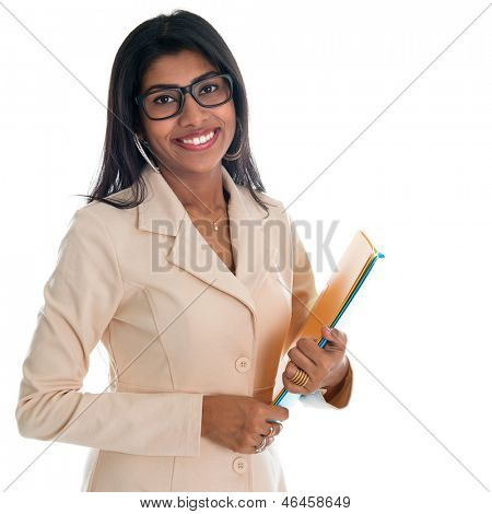 Indian businesswoman holding office file document. Portrait of beautiful Asian female model standing isolated on white background.