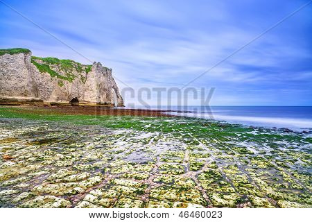 Etretat Aval Cliff Landmark And Its Beach In Low Tide. Normandy, France.