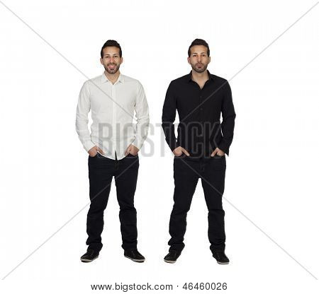 Portrait Of Two Identical Man Isolated Over White Background