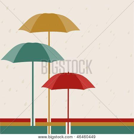 Rainy season background with open umbrellas.