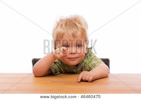 Little Child Pointing Finger To Someone