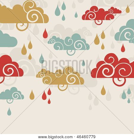 Creative rainy season background with clouds and raindrops.