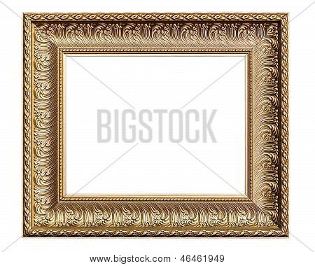 Golden Old Frame, Isolated On White