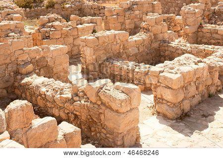 Judean Desert. The Euthymius Monastery ruins.
