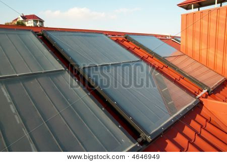 Alternative Energy  Solar System On The House Roof