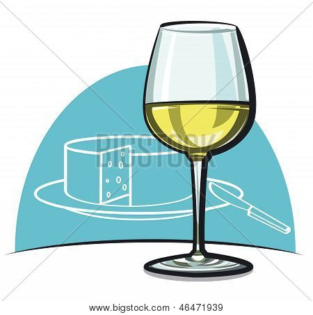 Wineglass With White Dry Wine