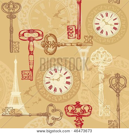 Vintage Seamless Pattern With Clock, Keys And Eiffel Tower