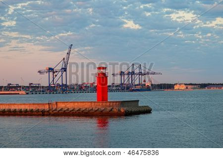 Container Terminal At Dawn
